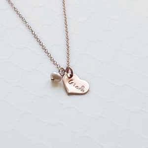 custom tiny heart name necklace in rose  gold with freshwater pearl