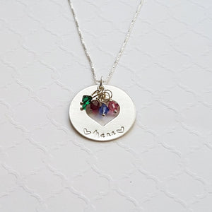 sterling silver grandma heart washer necklace with grandchildren's birthstones