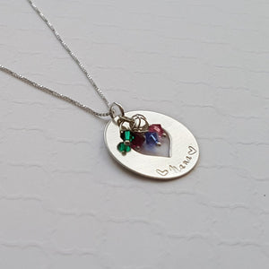 sterling silver grandma heart washer necklace with cluster of birthstones