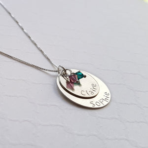 two-layer sterling silver disc necklace with birthstones