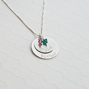 sterling silver two-layer mom necklace with kids' names and birthstones