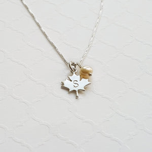 sterling silver maple leaf initial necklace with freshwater pearl