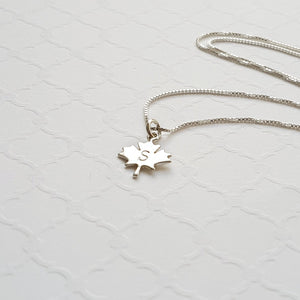 sterling silver maple leaf initial necklace