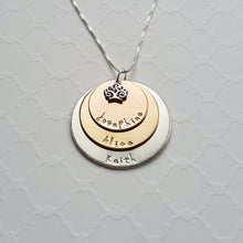 Load image into Gallery viewer, sterling silver, yellow and rose gold three-layer mixed metal mom necklace with kids' names and tree charm