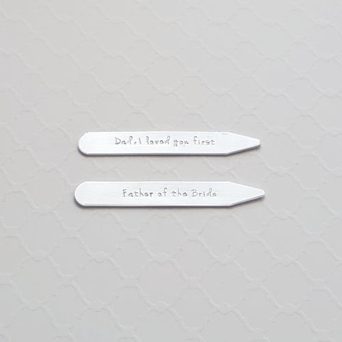 custom sterling silver stamped collar stays