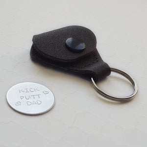 custom sterling silver golf ball marker with leather keychain case
