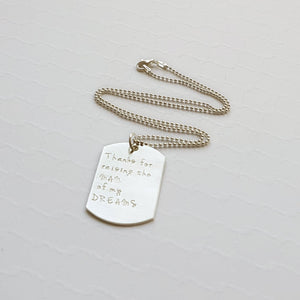 sterling silver father-of-groom dog tag necklace