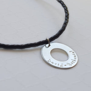 sterling silver washer necklace on a brown leather cord