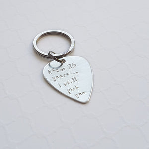 25th anniversary sterling silver guitar pick  keychain