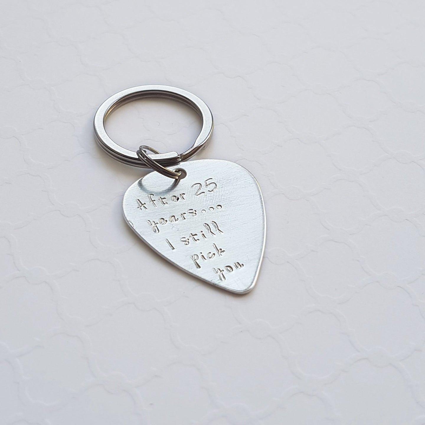 sterling silver guitar pick keychain