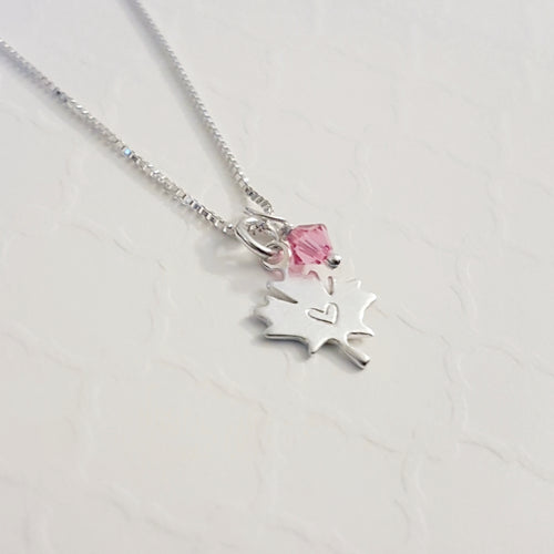 sterling silver maple leaf charm necklace stamped with tiny heart with swarovski birthstone