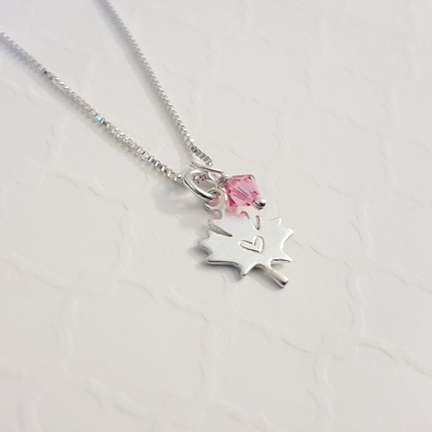 sterling silver maple leaf necklace with heart and birthstone