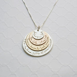 sterling silver, yellow and rose gold mixed metal four-layer grandma necklace with grandchildren's names