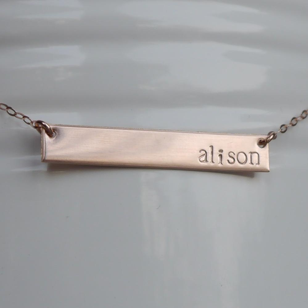 horizontal rose gold name bar necklace