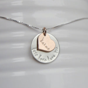custom sterling silver necklace with rose gold heart