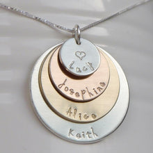 Load image into Gallery viewer, sterling silver, yellow and rose gold mixed metal four-layer mom necklace with kids' names