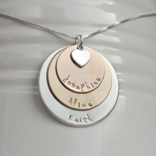 Load image into Gallery viewer, sterling silver, yellow and rose gold three-layer mixed metal mom necklace with kids' names and heart charm