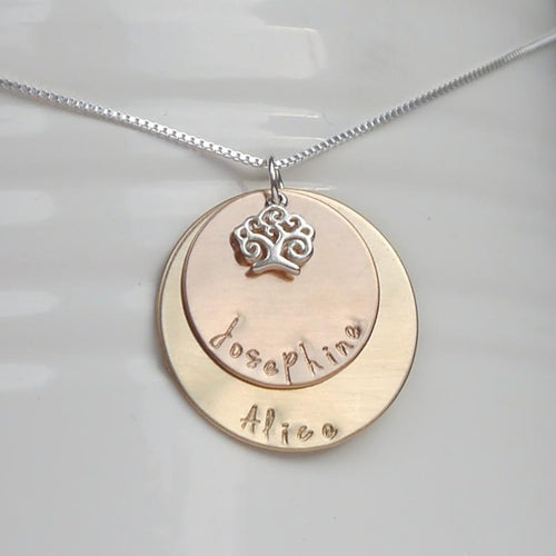 yellow and rose gold mixed metal mom necklace with kids' names and tree of life charm