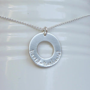sterling silver unisex washer necklace with kids' names