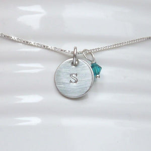 sterling silver tiny disc initial necklace with swarovski birthstone