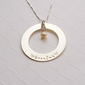 sterling washer necklace for grandma with freshwater pearl