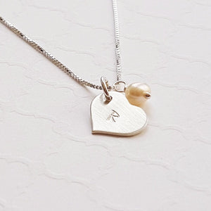 granddaughter's sterling silver heart initial necklace with freshwater pearl
