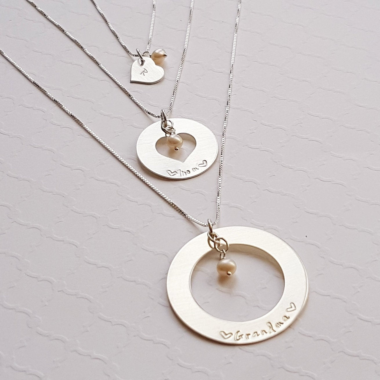 three generation sterling silver cut-out necklace set with freshwater pearls for grandma, mom and daughter