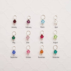 Sterling heart washer necklace with birthstones