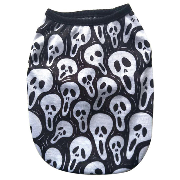 Cotton French Bulldog Skull Print Vest