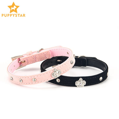 Rhinestone Crystal Velvet Crown Dog Collar