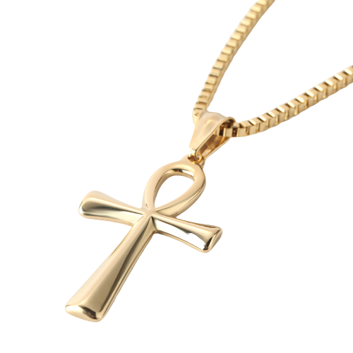 Gold Ankh Cross Pendant Necklace