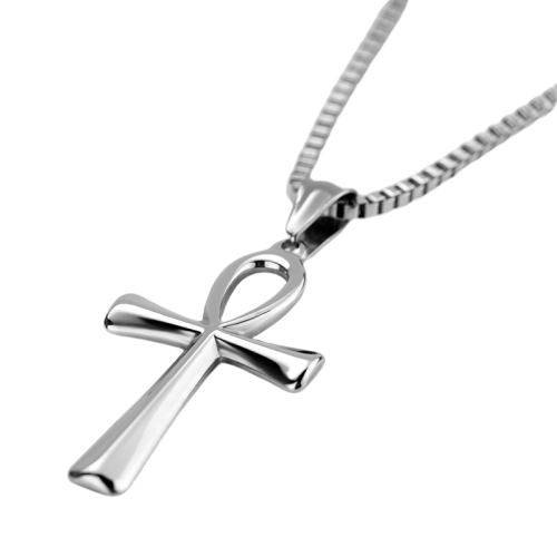Ankh Silver Cross Pendant Necklace