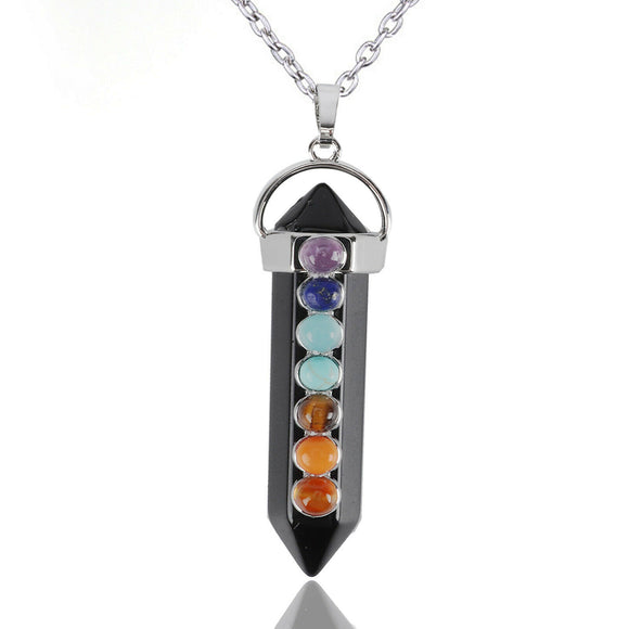 Tourmaline Chakra Gemstones Pendant Silver Necklace