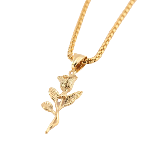 Gold Rose Pendant Necklace