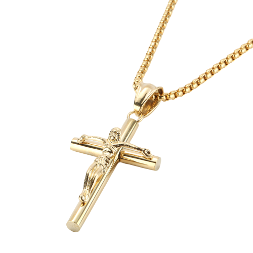 Crucifix Cross Gold Pendant Necklace