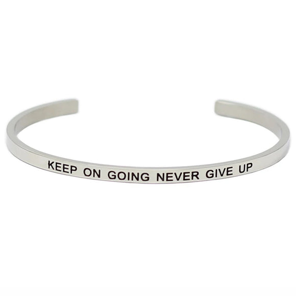 Keep On Going Never Give Up Affirmation Bracelet