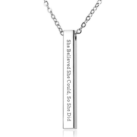 She Believed She Could So She Did Bar Pendant Affirmation Necklace
