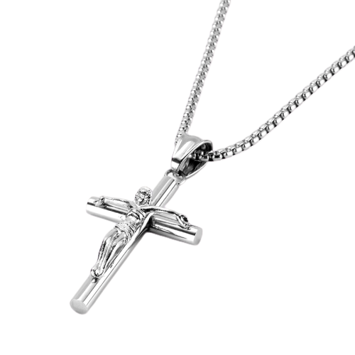 Crucifix Cross Silver Pendant Necklace