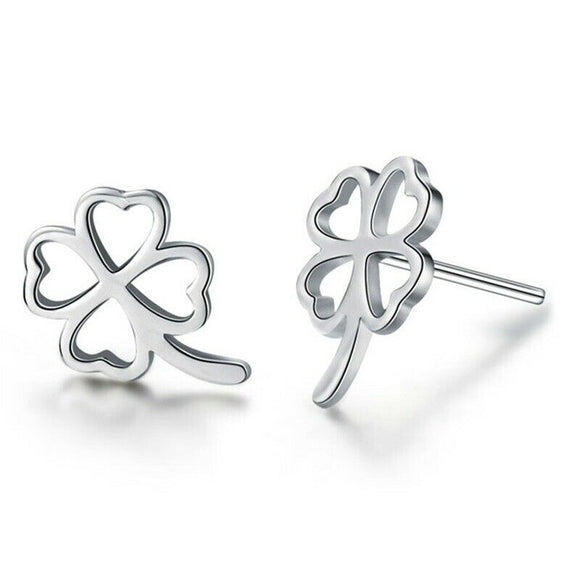 Four Leaf Clover Sterling Silver Earrings
