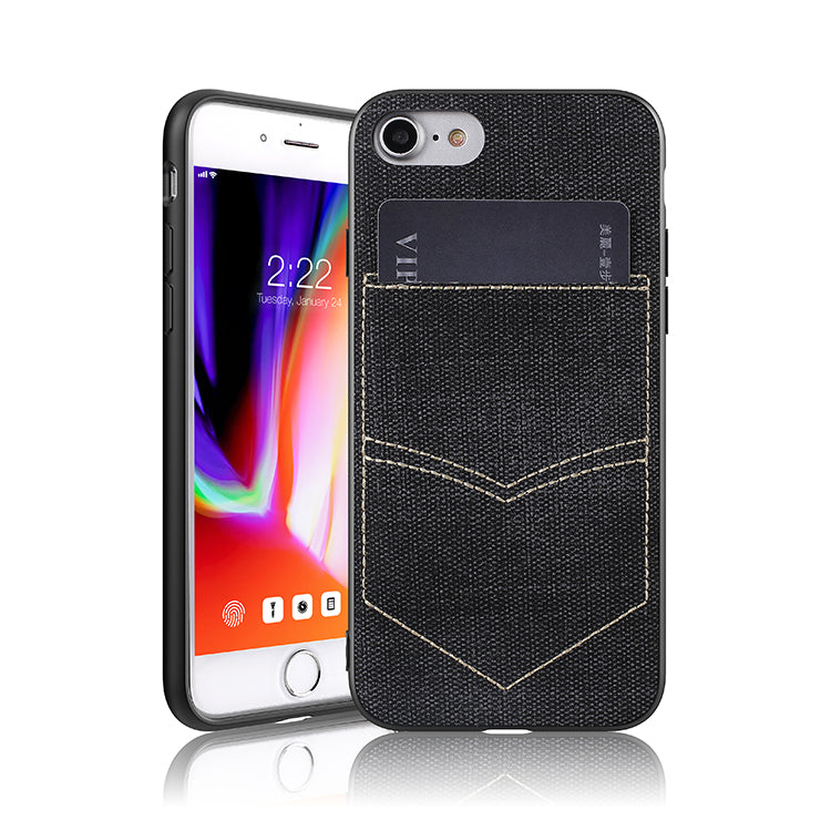 iPhone 8/7 Jeans Case With PocketBlack