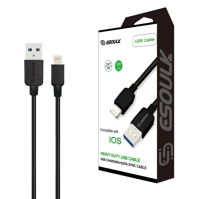 Esoulk 2A Heavy Duty Lightning USB Cable 3M (10ft)Black