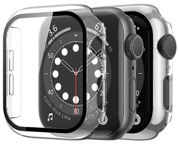 38mm Clear hard case for apple watch with tempered glass built in