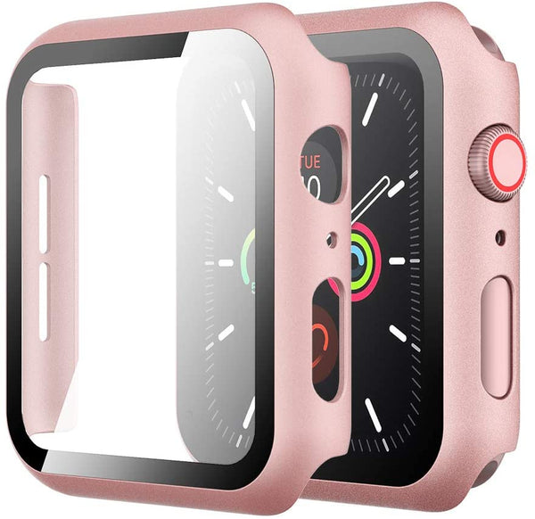 38mm Bumper case RoseG for apple watch with tempered glass built in