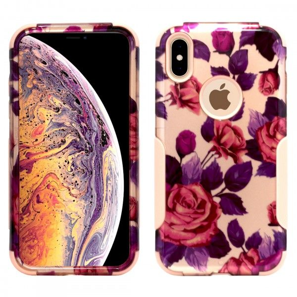 iPhone X/XS Aries Design Roses Leaf Rose Gold