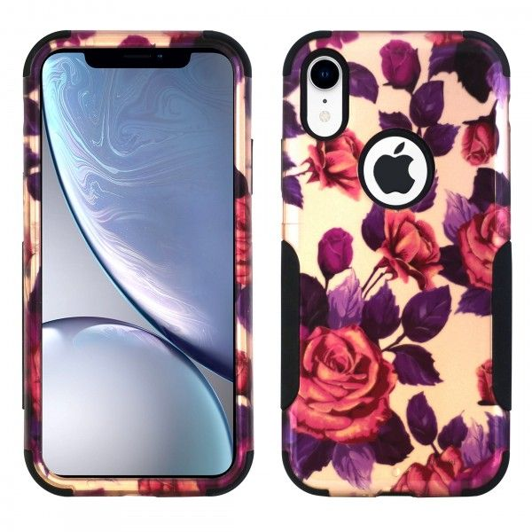 iPhone X/XS Aries Design Roses Leaf Black
