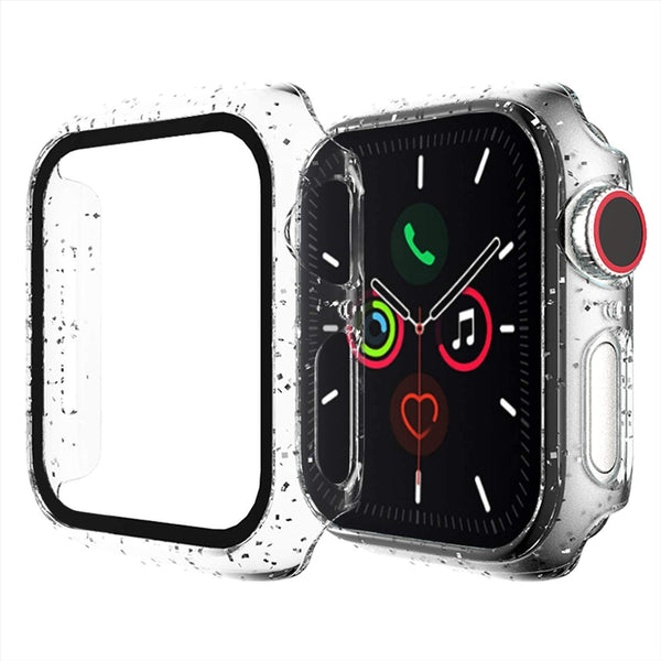 44mm Clear Glitter hard case for apple watch with tempered glass built in
