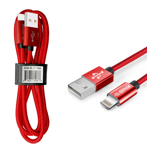Red Esoulk 3.3ft/1m Nylon Braided USB Cable For IPhone