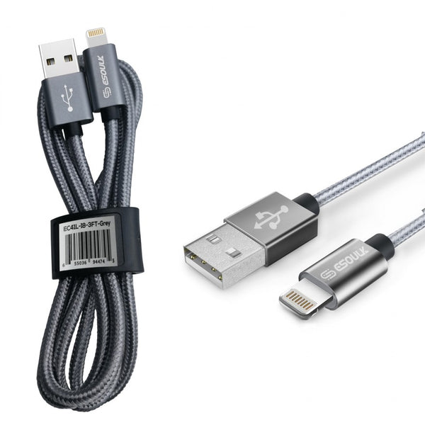 Silver Esoulk 3.3ft/1m Nylon Braided USB Cable For IPhone