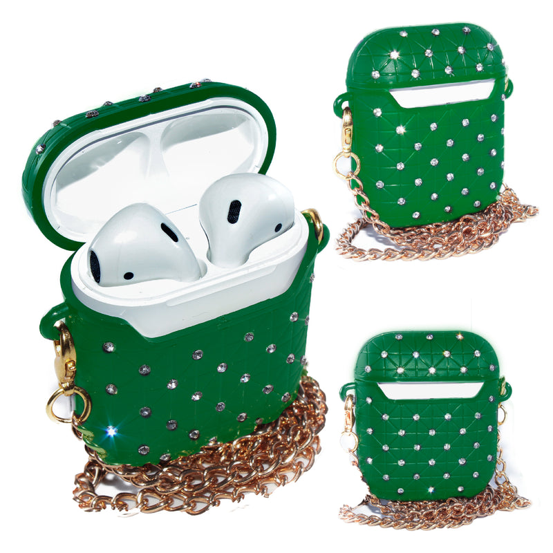 Green AirPods Glitter Case With Necklace