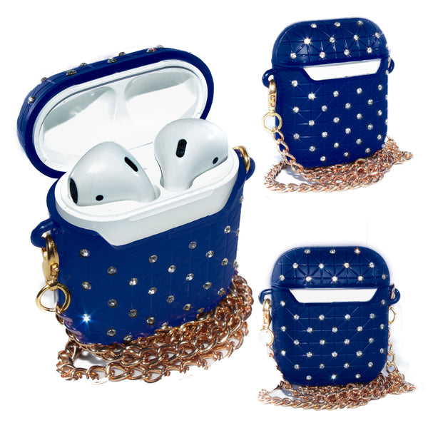 Navy AirPods Glitter Case With Necklace